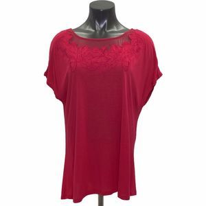 Jaclyn Smith Red Floral Mesh Short Sleeve Top